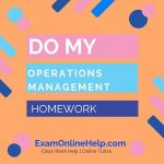 Do My Operations Management Homework